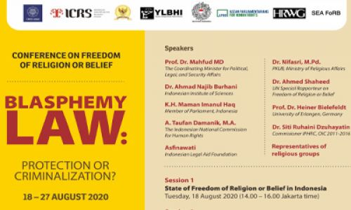 Conference on Freedom of Religion or Belief: Blasphemy Law (Protection of Criminalization?)